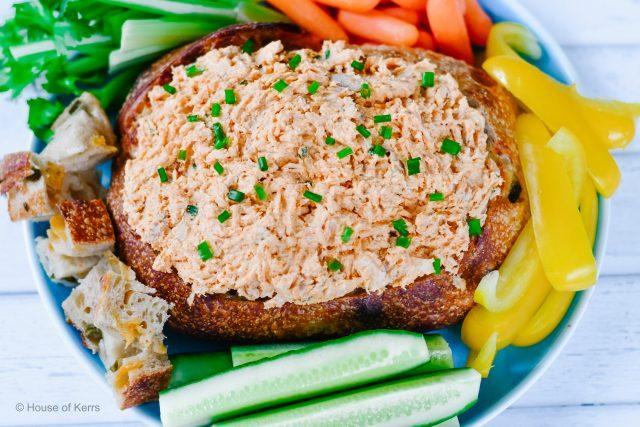 Buffalo Chicken Sourdough Dip Bowls Recipe